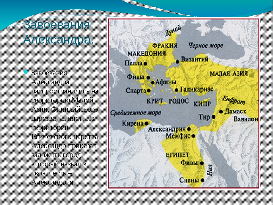 Завоевания Александра. Завоевания Александра распространились на территорию М...