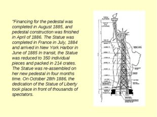 """Financing for the pedestal was completed in August 1885, and pedestal constr"
