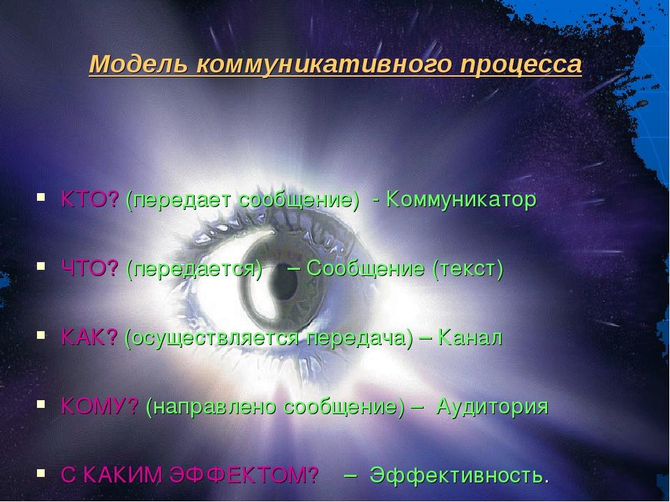 Модель коммуникативного процесса КТО? (передает сообщение) - Коммуникатор ЧТО...