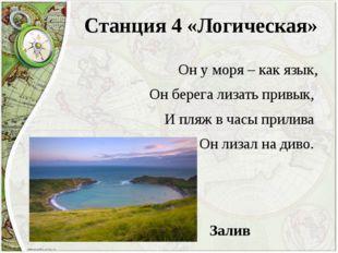 Станция 4 «Логическая» Он у моря – как язык, Он берега лизать привык, И пляж