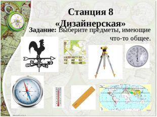 Станция 8 «Дизайнерская» Задание: Выберите предметы, имеющие что-то общее.