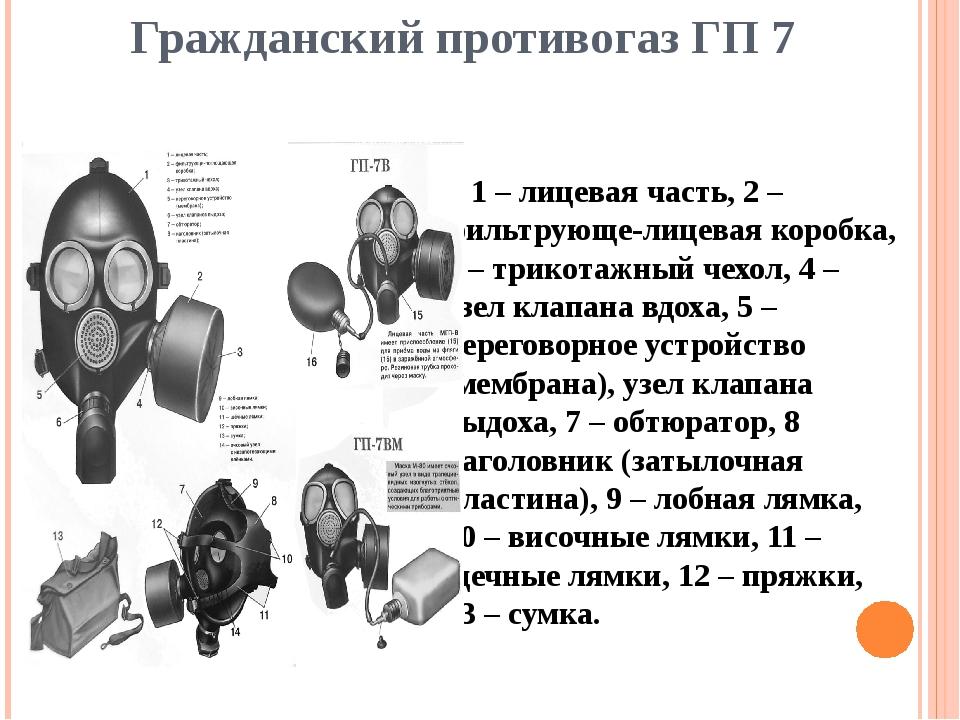 Гражданский противогаз ГП 7 1 – лицевая часть, 2 – фильтрующе-лицевая коробка...