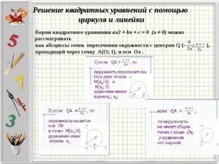 Решение квадратных уравнений с помощью циркуля и линейки Корни квадратного ур
