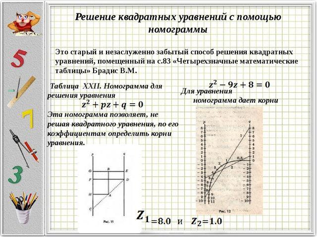 Решение квадратных уравнений с помощью номограммы Это старый и незаслуженно з...