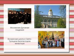 Московская Духовная Академия Воскресная школа в Свято-Троицком Белопесоцком