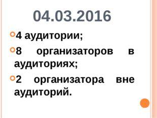 04.03.2016 4 аудитории; 8 организаторов в аудиториях; 2 организатора вне ауди