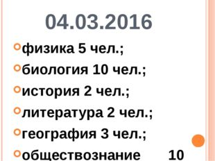04.03.2016 физика 5 чел.; биология 10 чел.; история 2 чел.; литература 2 чел.