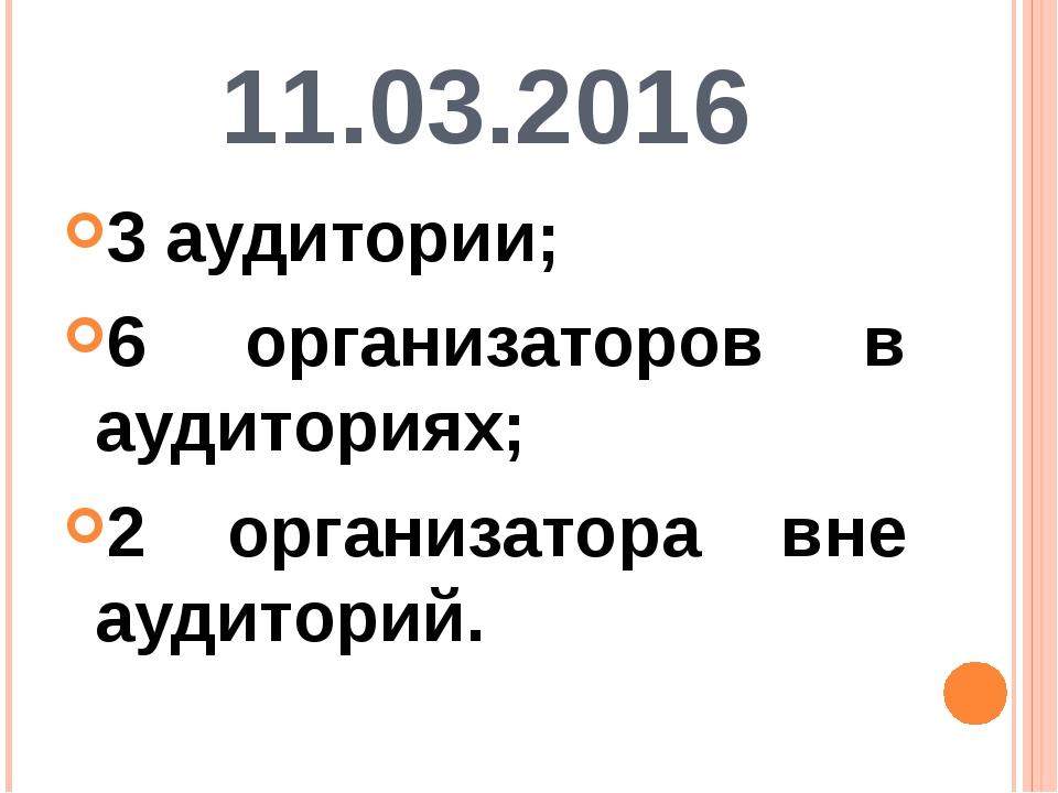 11.03.2016 3 аудитории; 6 организаторов в аудиториях; 2 организатора вне ауди...