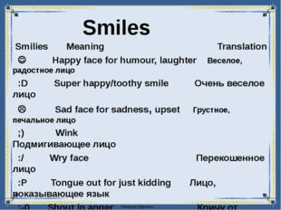 Smilies Meaning Translation  Happy face for humour, laughter Веселое, радос