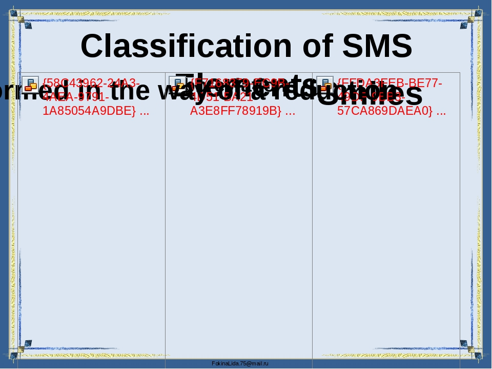 Classification of SMS Elements FokinaLida.75@mail.ru