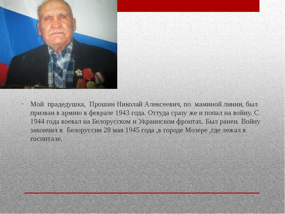 Мой прадедушка, Прошин Николай Алексеевич, по маминой линии, был призван в а...
