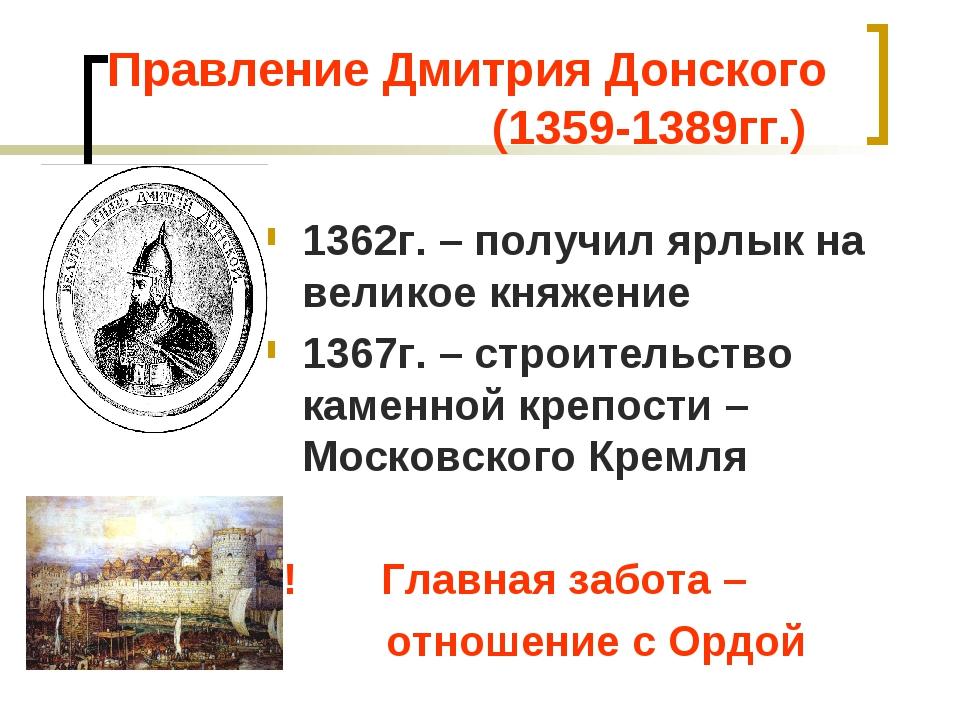Правление Дмитрия Донского (1359-1389гг.) 1362г. – получил ярлык на великое к...