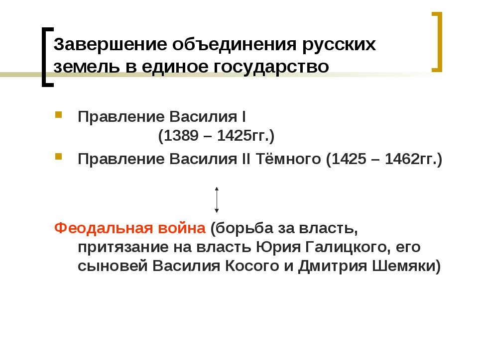 Завершение объединения русских земель в единое государство Правление Василия...