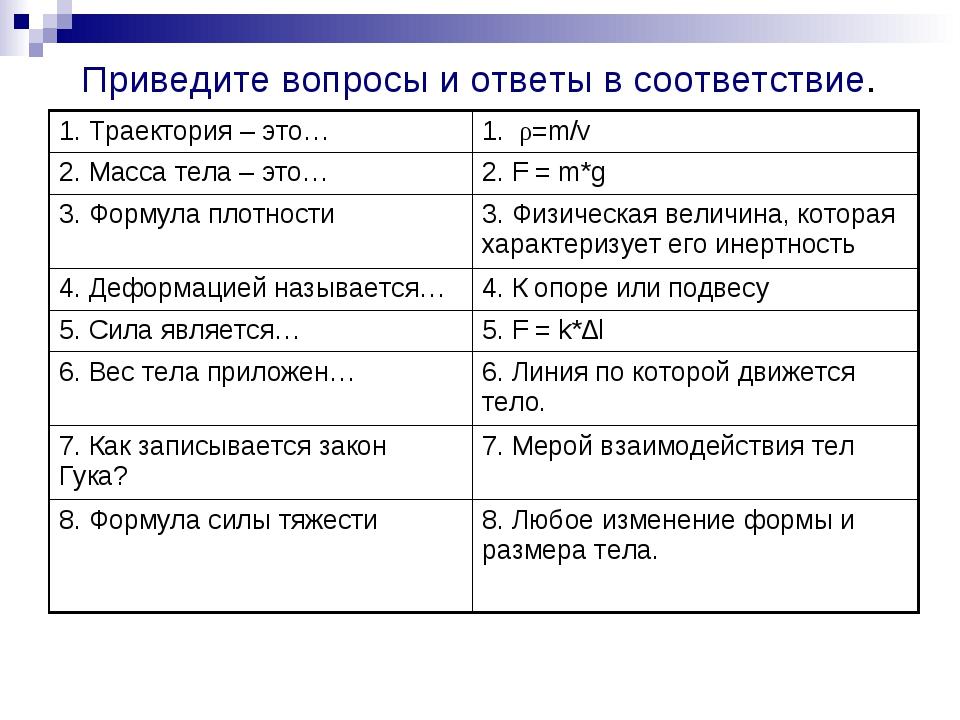 Приведите вопросы и ответы в соответствие. 1. Траектория – это…1. ρ=m/v 2. М...
