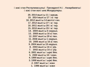 Қазақстан Респуликасының Президенті Н.Ә. Назарбаевтың Қазақстан халқына Жол