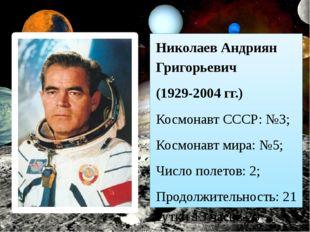 Николаев Андриян Григорьевич (1929-2004 гг.) Космонавт СССР:№3; Космонавт ми