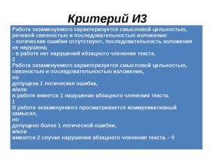 Критерий И3 Работа экзаменуемого характеризуется смысловой цельностью, речев