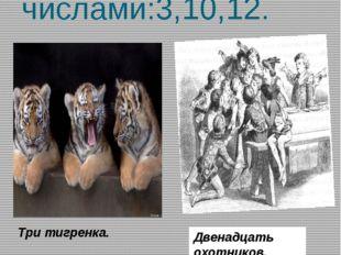 Картинки с числами:3,10,12. Три тигренка. Двенадцать охотников.