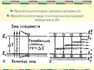 Яримўтказгичларда люминесценция (а) Яримўтказгичларда эгалланганликларнинг ин