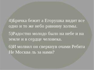 4)Бричка бежит а Егорушка видит все одно и то же небо равнину холмы. 5)Радос