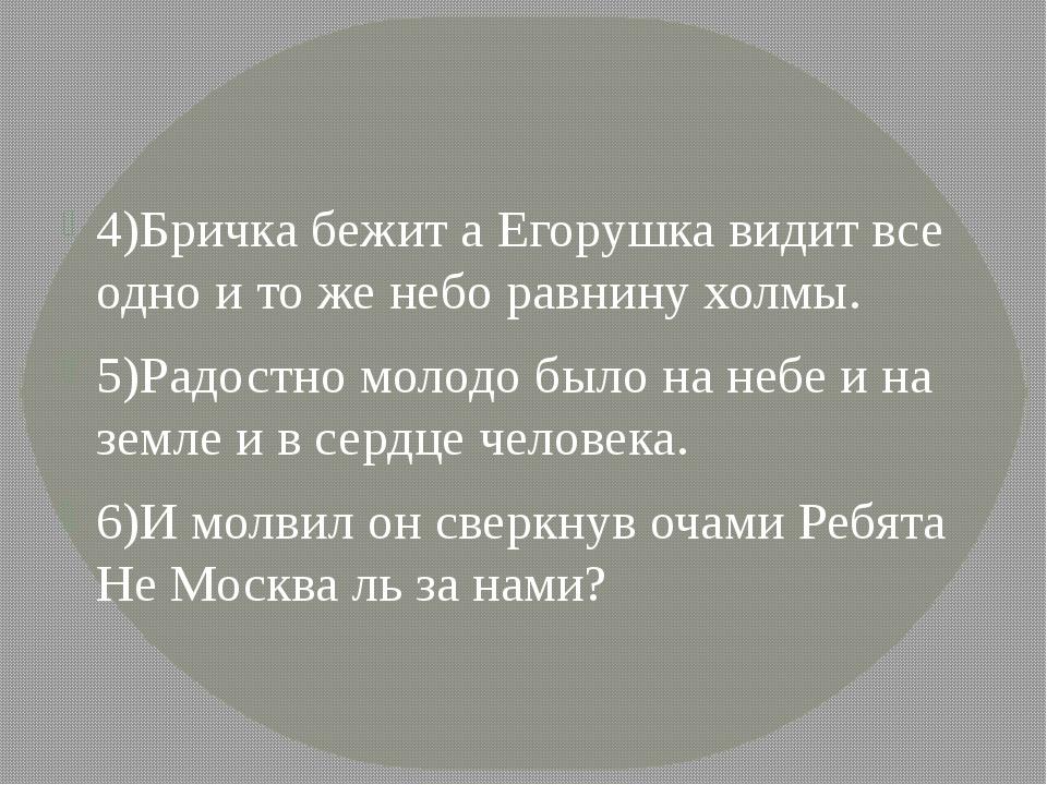 4)Бричка бежит а Егорушка видит все одно и то же небо равнину холмы. 5)Радос...