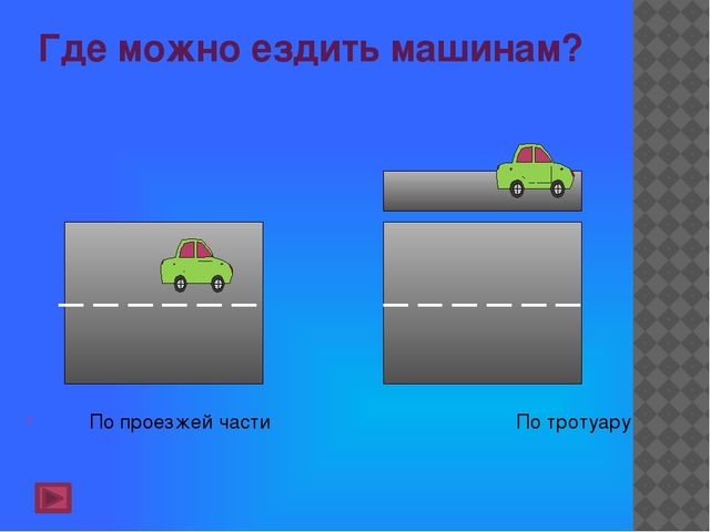 Где можно ездить машинам? По проезжей части По тротуару