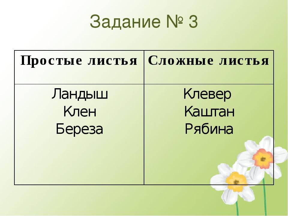 Задание № 3 Простые листья Сложные листья Ландыш Клен Береза Клевер Каштан Ря...