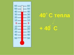 0 0 20 20 10 10 10 10 20 20 30 30 30 30 40 40 40 40 50 50 40 C тепла + 40 C о