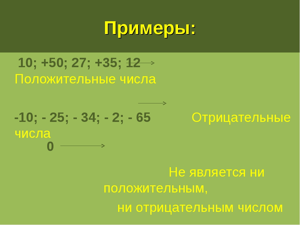 Примеры: 10; +50; 27; +35; 12 Положительные числа -10; - 25; - 34; - 2; - 65...