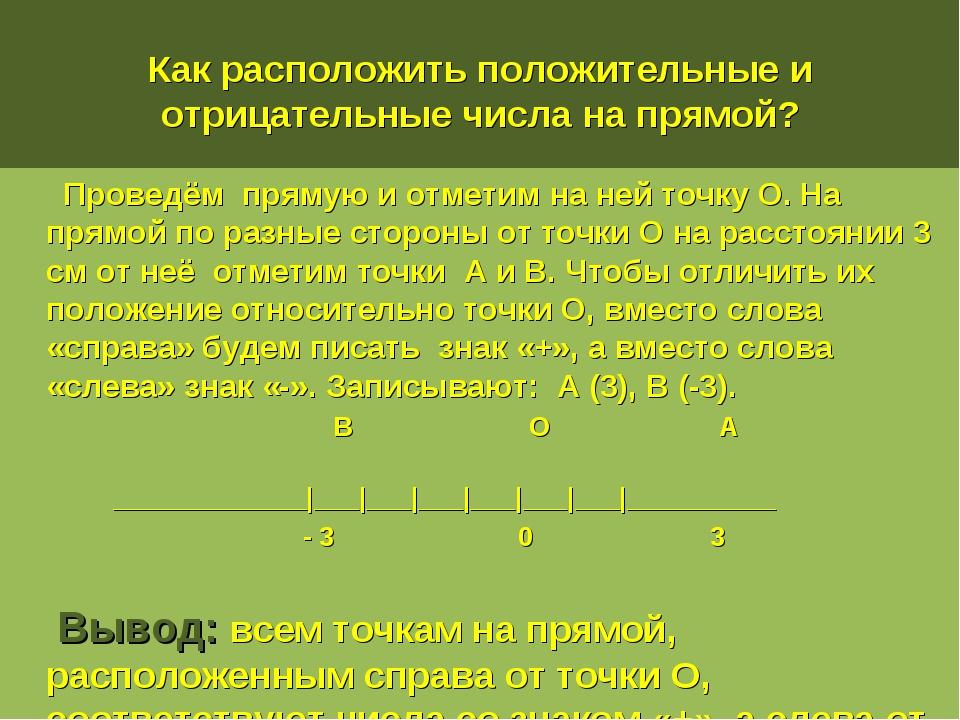 Как расположить положительные и отрицательные числа на прямой? Проведём пряму...