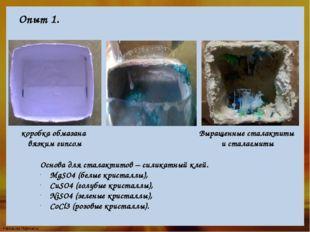 Опыт 1. коробка обмазана вязким гипсом Основа для сталактитов – силикатный кл