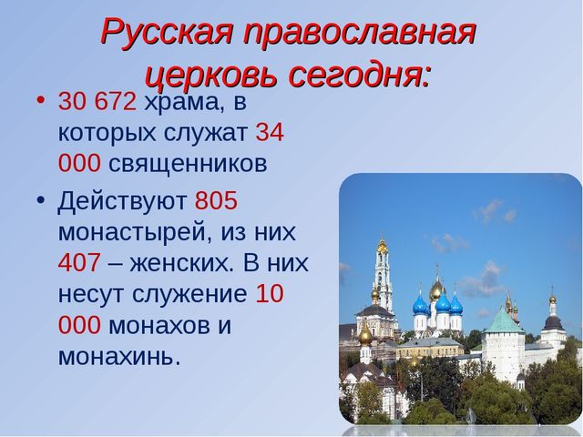 Русская православная церковь сегодня: 30 672 храма, в которых служат 34 000 с...