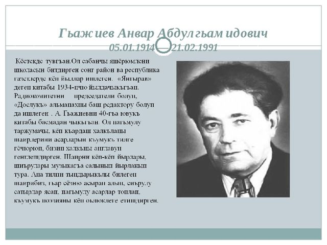 Гьажиев Анвар Абдулгьамидович 05.01.1914 — 21.02.1991