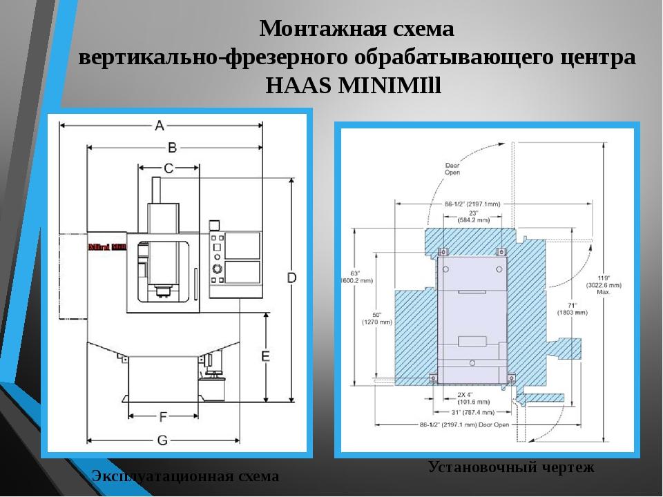 Монтажная схема вертикально-фрезерного обрабатывающего центра HAAS MINIMIll У...