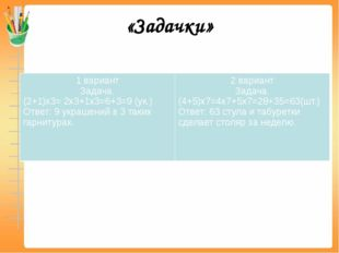 «Задачки» 1 вариант Задача. (2+1)х3= 2х3+1х3=6+3=9 (ук.) Ответ: 9 украшений в