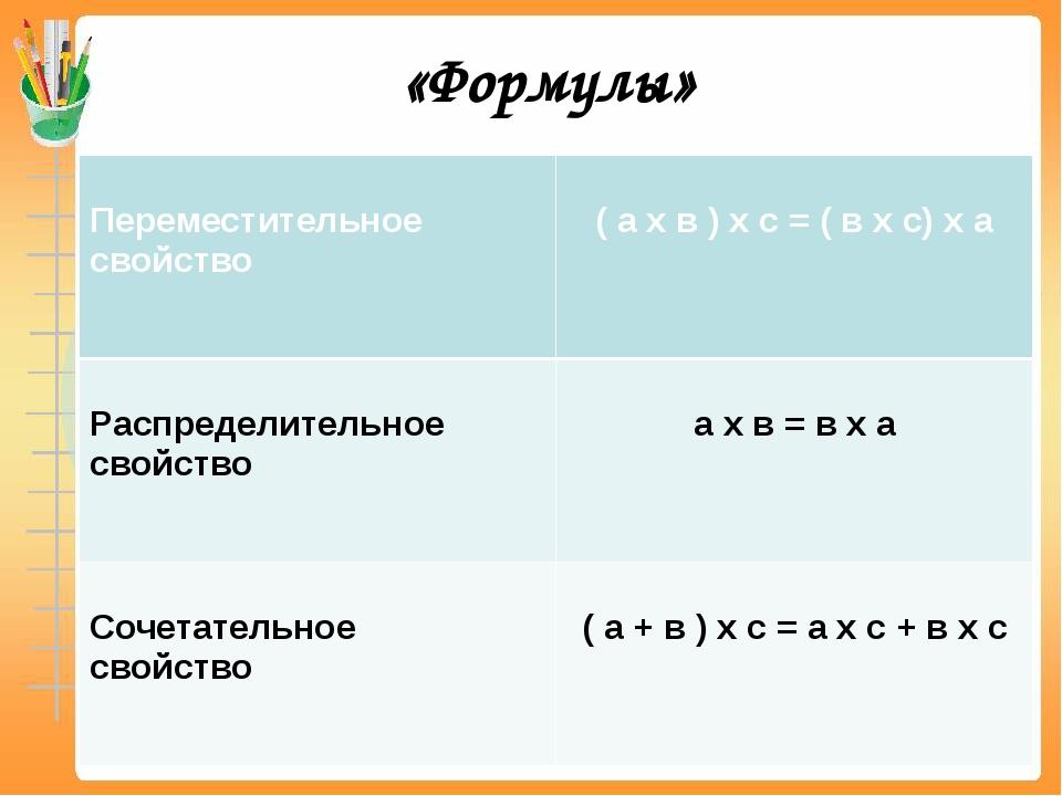 «Формулы» Переместительноесвойство ( а х в ) х с = ( в х с) х а Распределител...