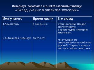 Используя параграф 5 стр. 23-25 заполните таблицу: «Вклад ученых в развитие з