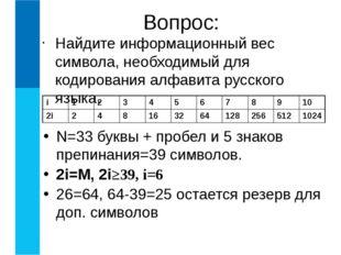 I=K*i битов, где I - информационный объем текста, i- информационный вес одног
