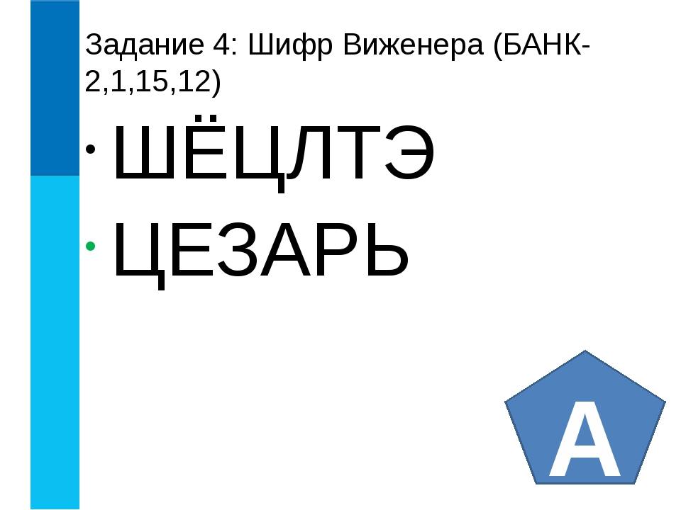 Задание 4: Шифр Виженера (БАНК-2,1,15,12) ШЁЦЛТЭ ЦЕЗАРЬ А
