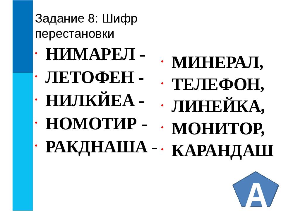 Задание 8: Шифр перестановки НИМАРЕЛ - ЛЕТОФЕН - НИЛКЙЕА - НОМОТИР - РАКДНАША...