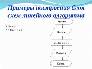 Примеры построения блок схем линейного алгоритма Условие: Z = tan x + √ x Нач