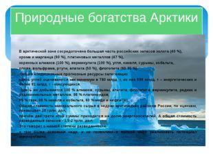 Природные богатства Арктики В арктической зоне сосредоточена большая часть ро