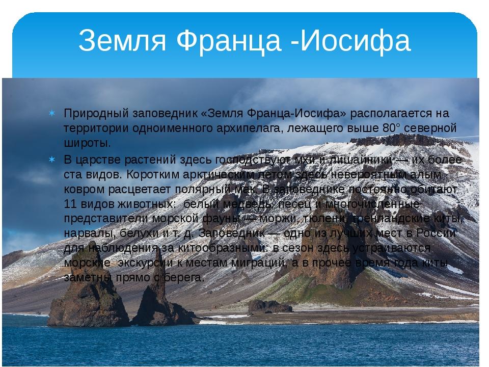 Земля Франца -Иосифа Природный заповедник «Земля Франца-Иосифа» располагаетс...
