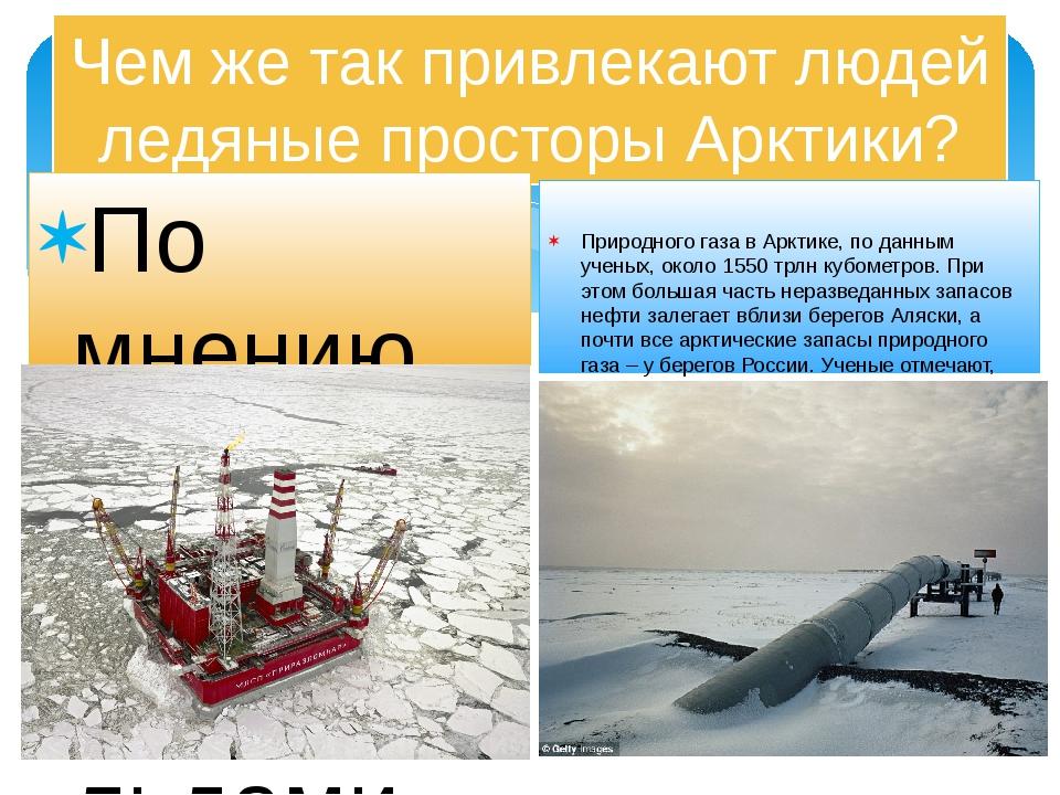 Чем же так привлекают людей ледяные просторы Арктики? По мнению ученых геолог...
