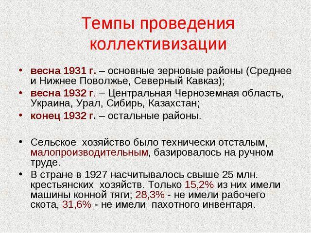 Темпы проведения коллективизации весна 1931 г. – основные зерновые районы (Ср...