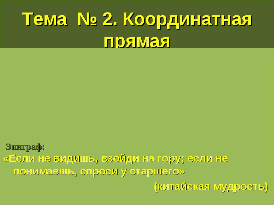 Тема № 2. Координатная прямая Эпиграф: «Если не видишь, взойди на гору; если...