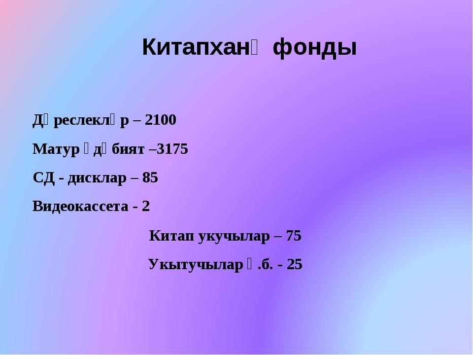 Китапханә фонды Дәреслекләр – 2100 Матур әдәбият –3175 СД - дисклар – 85 Виде...