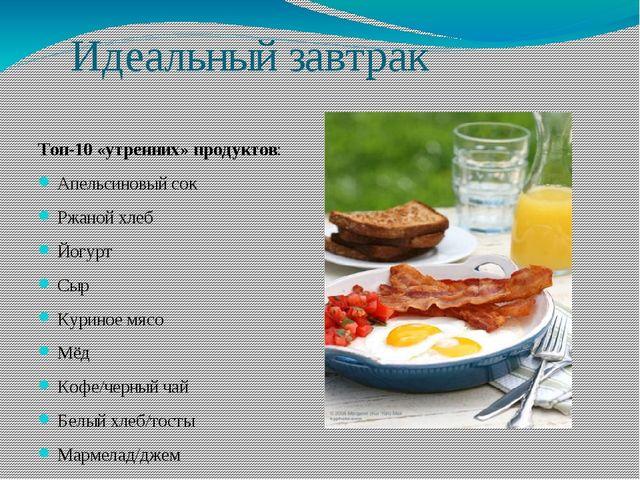 Идеальный завтрак Топ-10 «утренних» продуктов: Апельсиновый сок Ржаной хлеб Й...