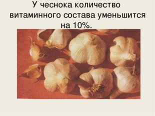 У чеснока количество витаминного состава уменьшится на 10%.