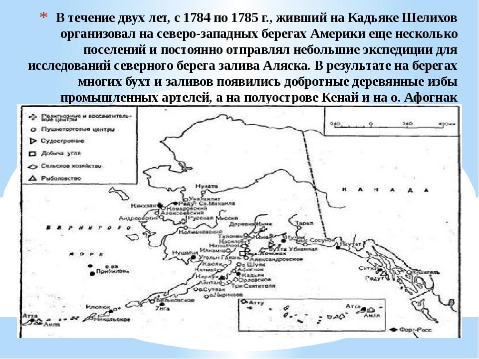 В течение двух лет, с 1784 по 1785 г., живший на Кадьяке Шелихов организовал...